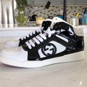 Men's Gucci Sneakers size 12 Patent Black Snake